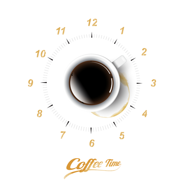 coffee with time vector background