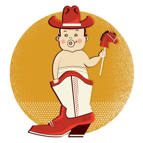 cowboy baby in boot vector