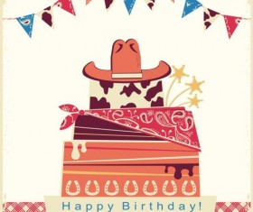 cowboy birthday party card with cake and hat vector