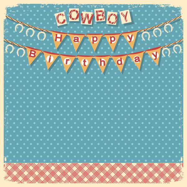 cowboy child birthday background vector