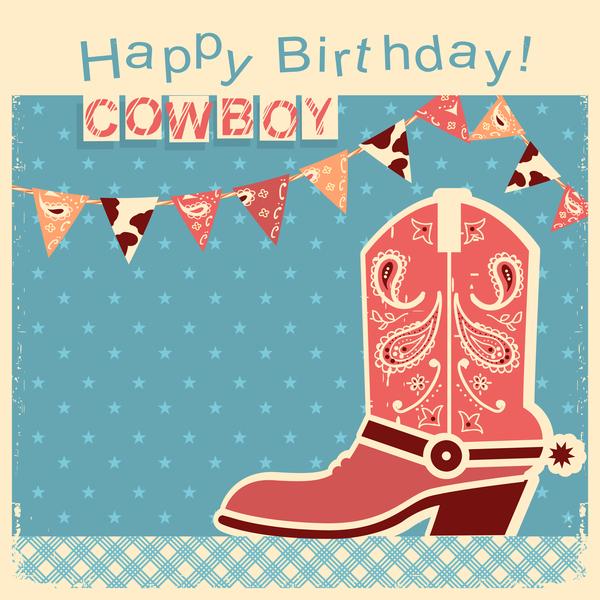 cowboy child card with retro birthday vector
