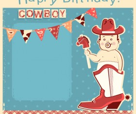 cowboy baby with happy birthday card vector