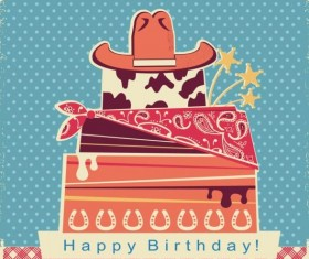 cowboy party color card with cake and hat vector