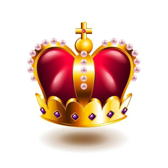 crown with cross and pink pearls vector