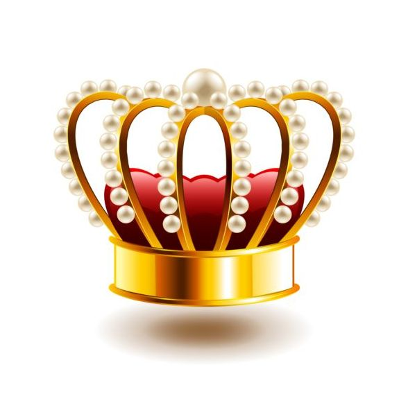 crown with white pearls isolated vector