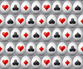 easter egg with poker sign pattern vector 01