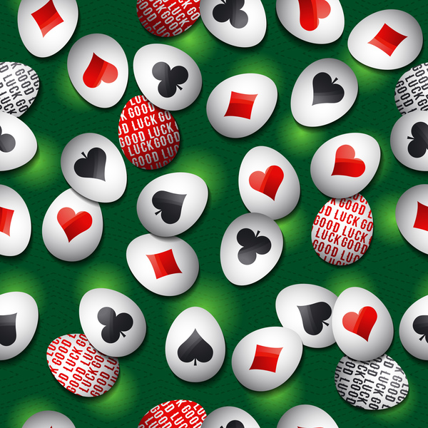 easter egg with poker sign pattern vector 03