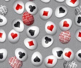 easter egg with poker sign pattern vector 04