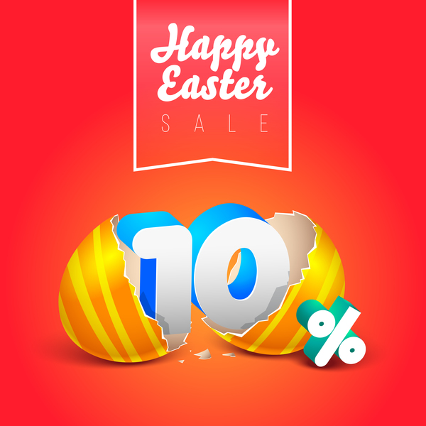 easter eggs with discounts background template vector 01
