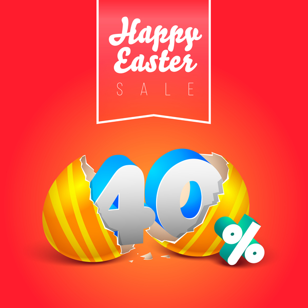easter eggs with discounts background template vector 04