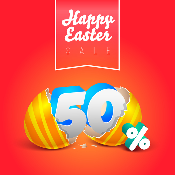 easter eggs with discounts background template vector 05