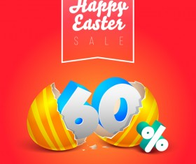 easter eggs with discounts background template vector 06