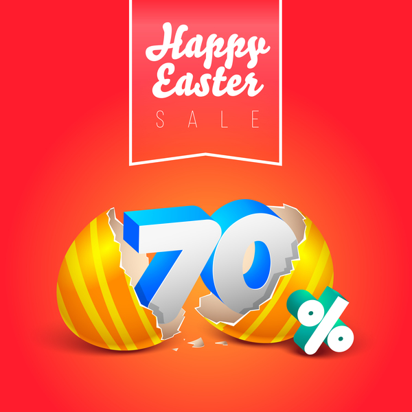 easter eggs with discounts background template vector 07
