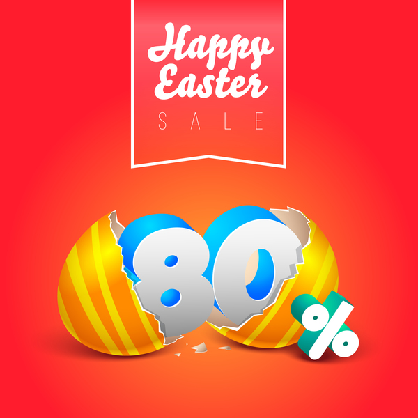 easter eggs with discounts background template vector 08