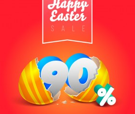 easter eggs with discounts background template vector 09