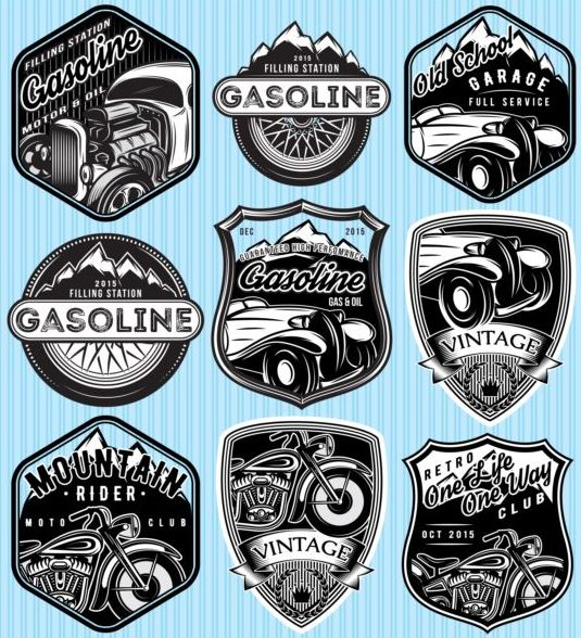 gasoline with mountain rider vintage labels vector set