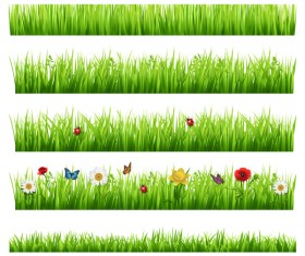 grass borders with flower vector 02