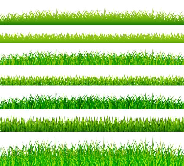 green grass border set vector