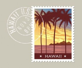 hawaii postage stamp template vector