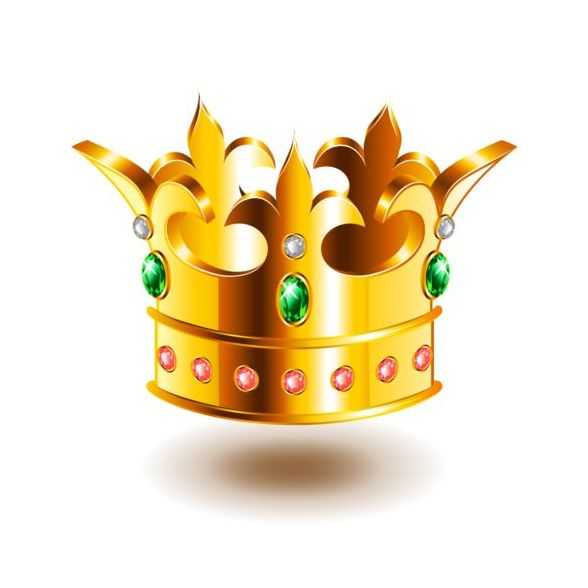 heraldic crown with green gem vector