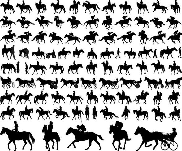 horseman with horse silhouette vector set 02
