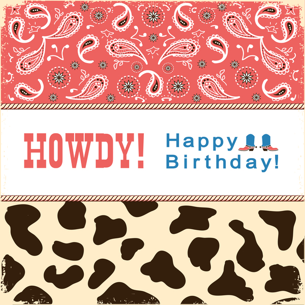 howdy card text vector 02