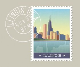 illinois postage stamp template vector