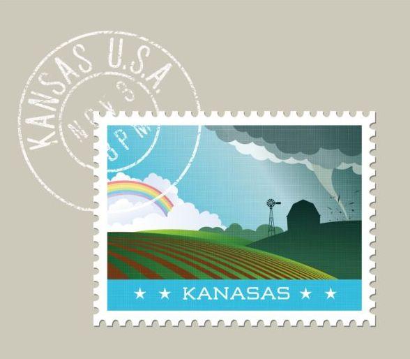 kansas postage stamp template vector