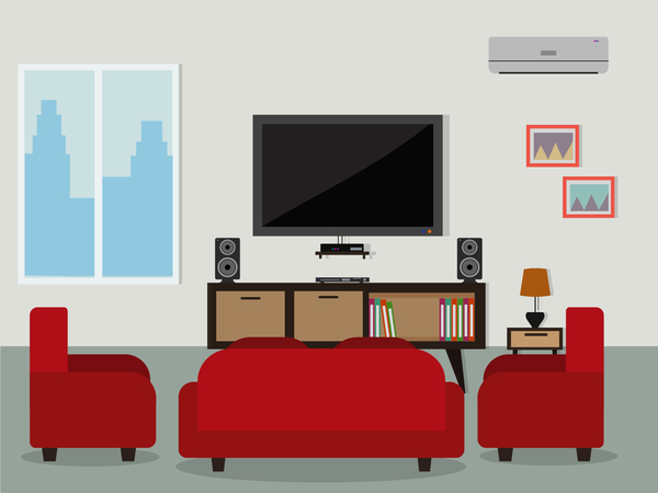 Living room flat background vector for Room design vector