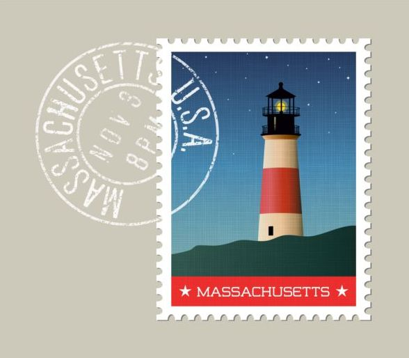 Massachusetts Postage Stamp Template Vector