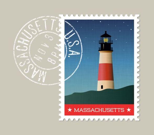massachusetts postage stamp template vector