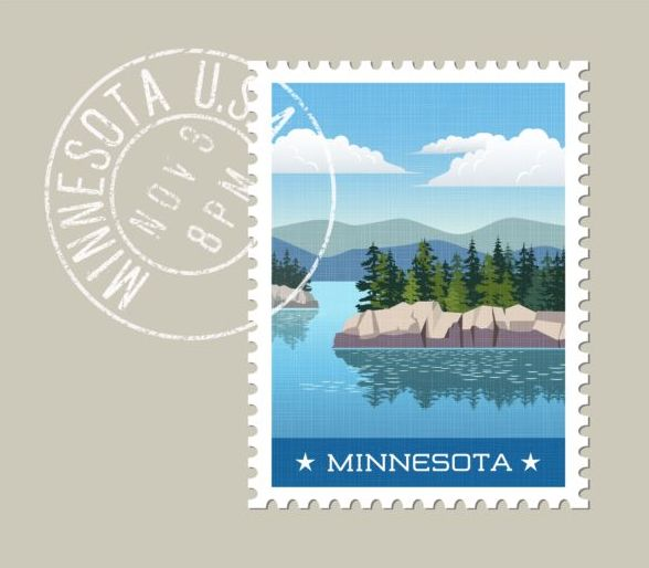 minnesota postage stamp template vector