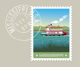 mississippi postage stamp template vector