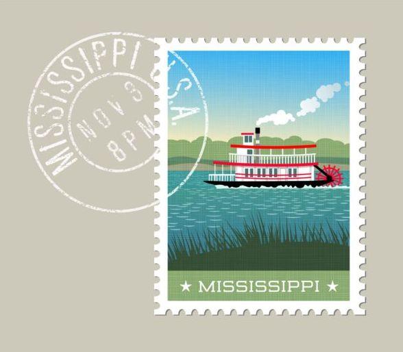 mississippi postage stamp template vector