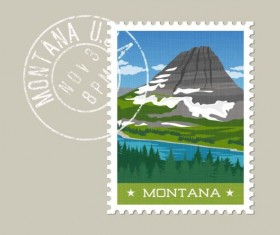 montana postage stamp template vector