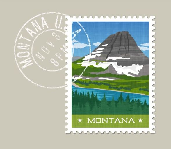 montana postage stamp template vector