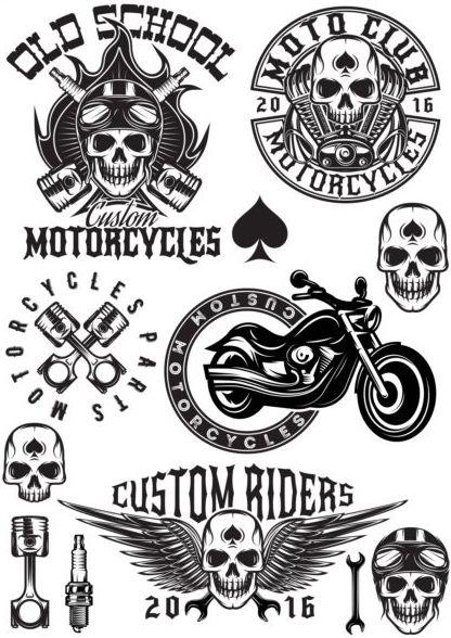 motorcycle seivice repari retro labels vector