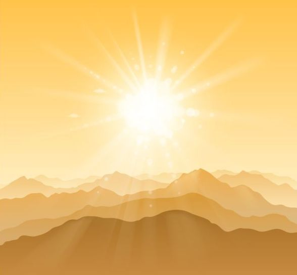 mountain with sunshine vector background