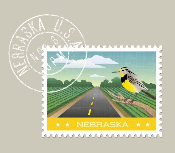 nebraska postage stamp template vector