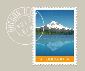 oregon postage stamp template vector