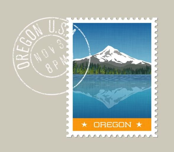 oregon postage stamp template vector