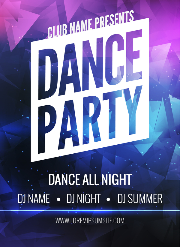 pance party poster template vector 01
