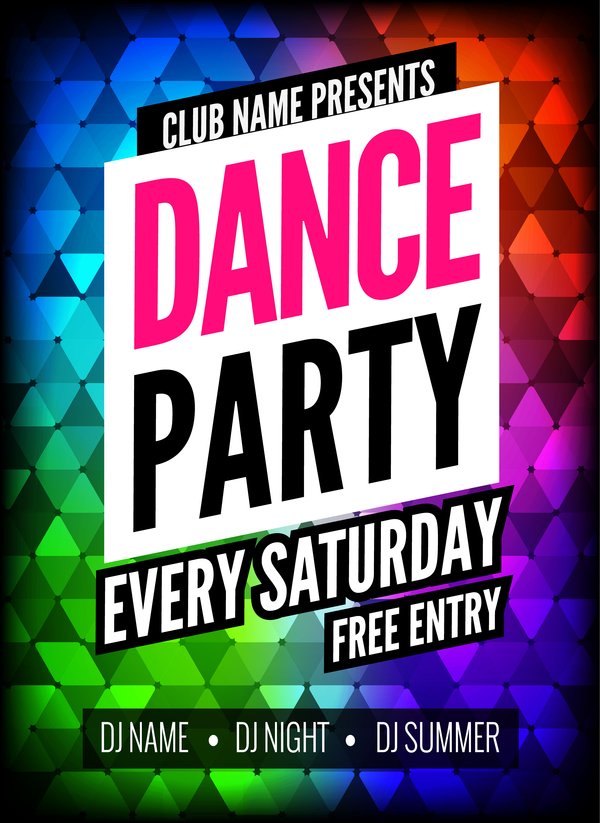 pance party poster template vector 05