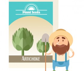 plant seed poster retro vector 01