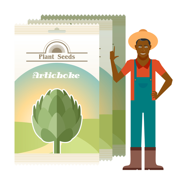 plant seed poster retro vector 02