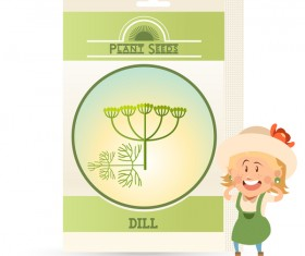 plant seed poster retro vector 05
