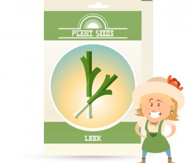 plant seed poster retro vector 07