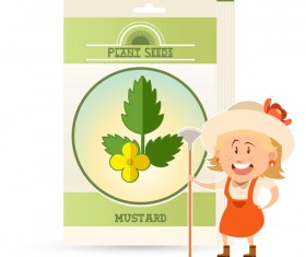 plant seed poster retro vector 08