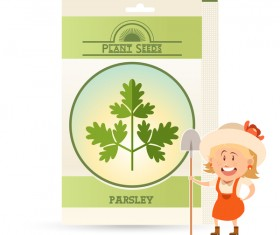 plant seed poster retro vector 09