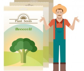 plant seed poster retro vector 10